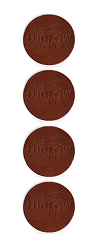 Ludlow Gin Leather Coasters x4 Mid Tan